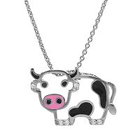 Sophie Miller Black & White Cubic Zirconia Sterling Silver Cow Pendant Necklace