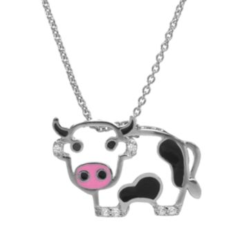 Sophie Miller Black and White Cubic Zirconia Sterling Silver Cow Pendant Necklace