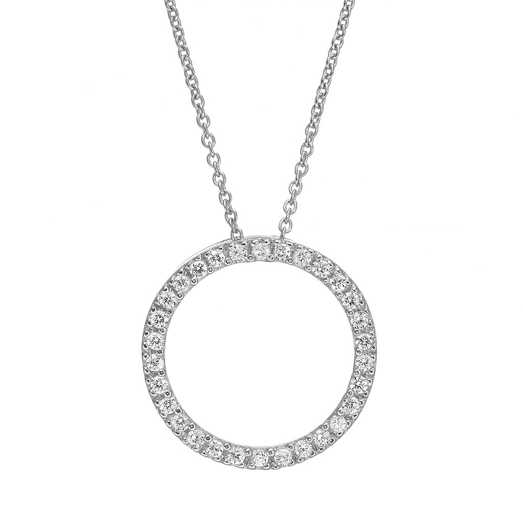 Sophie Miller Cubic Zirconia Sterling Silver Open Circle Pendant Necklace
