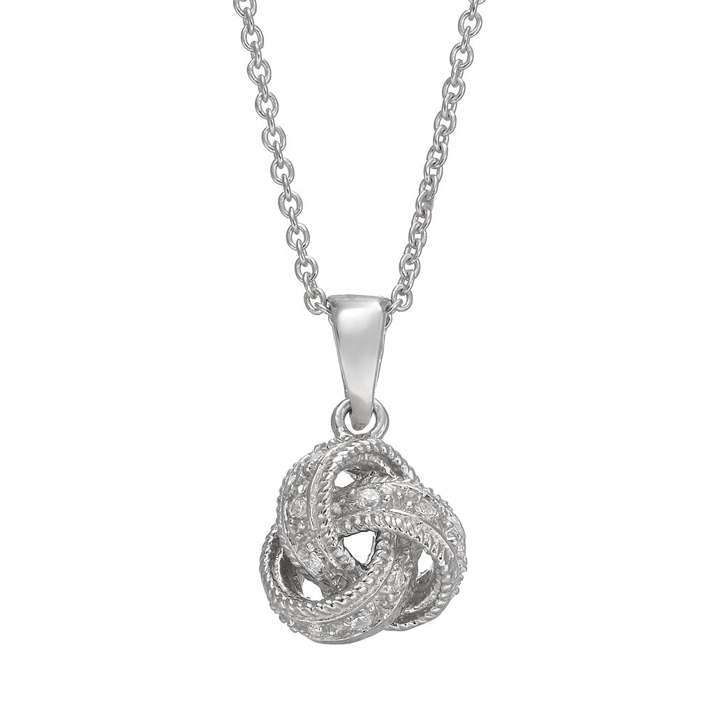 Sophie Miller Cubic Zirconia Sterling Silver Love Knot Pendant Necklace
