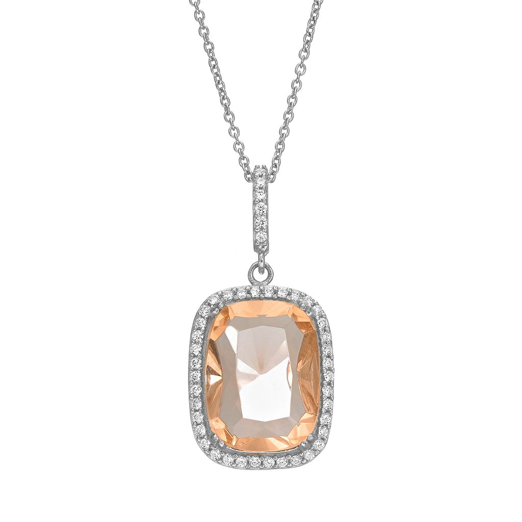 Sophie Miller Simulated Morganite & Cubic Zirconia Sterling Silver Rectangle Halo Pendant Necklace