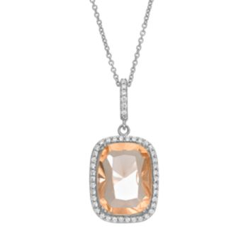 Sophie Miller Simulated Morganite and Cubic Zirconia Sterling Silver Rectangle Halo Pendant Necklace