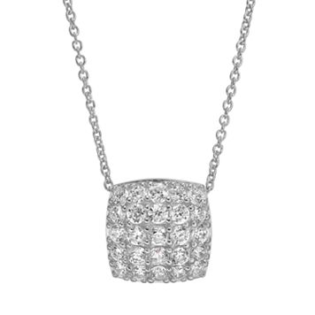 Sophie Miller Cubic Zirconia Sterling Silver Square Pendant Necklace