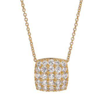 Sophie Miller Cubic Zirconia 14k Gold Over Silver Square Pendant Necklace
