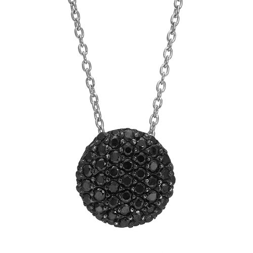 Sophie Miller Black Cubic Zirconia Sterling Silver Circle Pendant Necklace