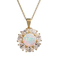 Sophie Miller Lab-Created Opal & Cubic Zirconia 14k Gold Over Silver Flower Pendant Necklace