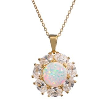 Sophie Miller Lab-Created Opal and Cubic Zirconia 14k Gold Over Silver Flower Pendant Necklace