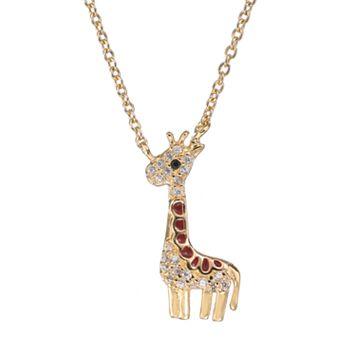 Sophie Miller Black & White Cubic Zirconia 14k Gold Over Silver Giraffe Necklace