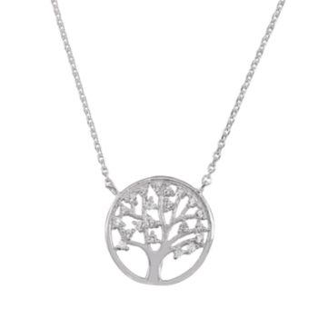 Sophie Miller Cubic Zirconia Sterling Silver Tree of Life Necklace