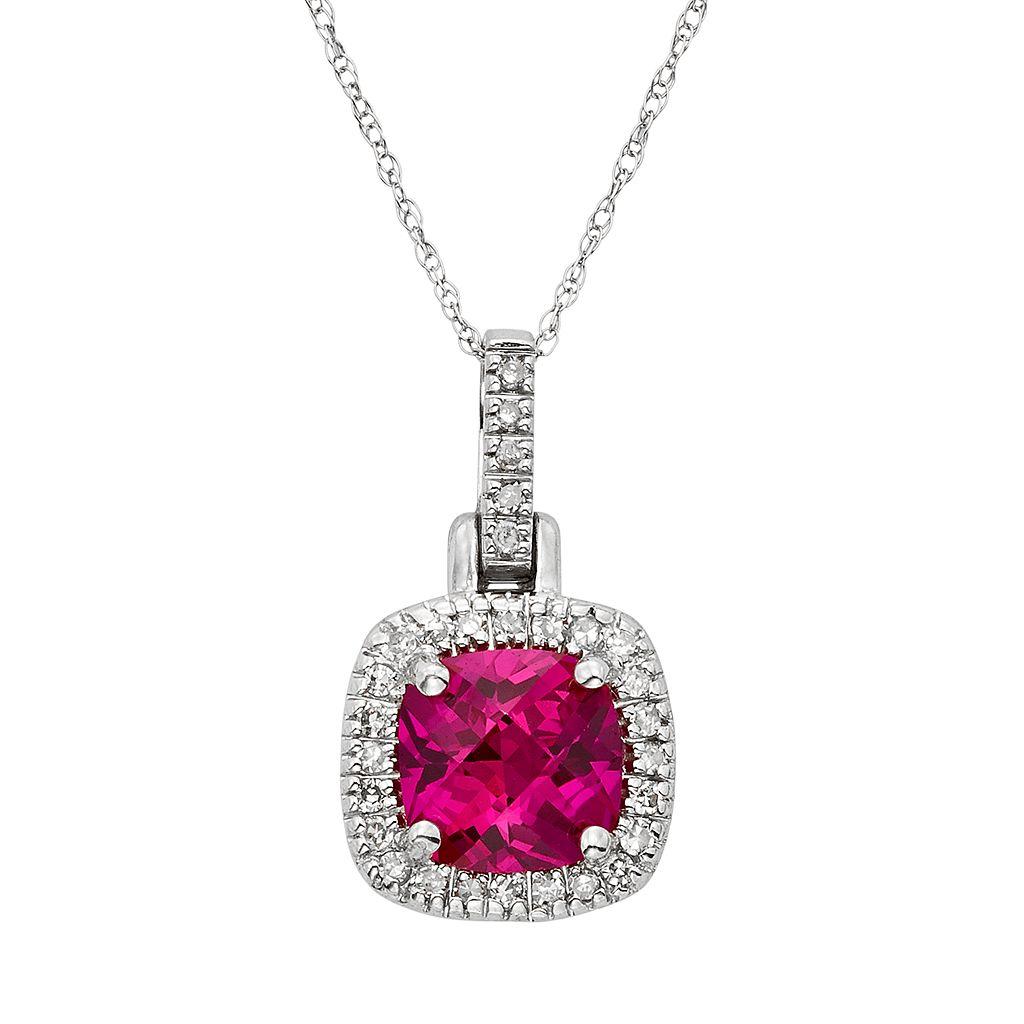 Lab-Created Ruby & 1/8 Carat T.W. Diamond 10k White Gold Halo Pendant Necklace