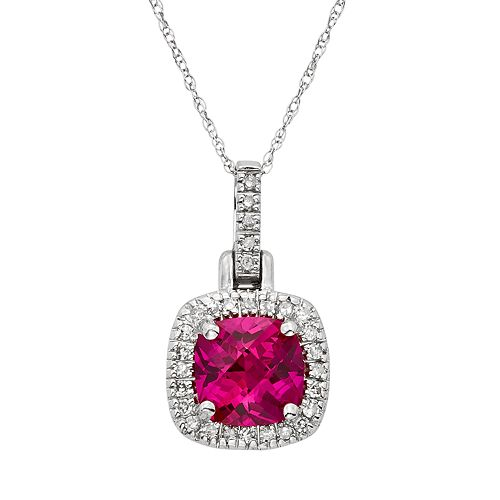 Lab-Created Ruby & 1/8 Carat T.W. Diamond 10k White Gold Halo Pendant Necklace