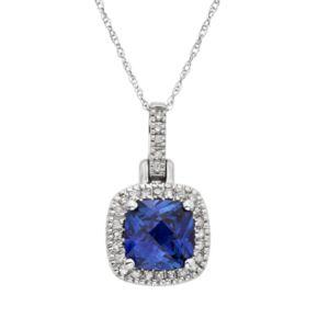 Lab-Created Sapphire & 1/8 Carat T.W. Diamond 10k White Gold Halo Pendant Necklace