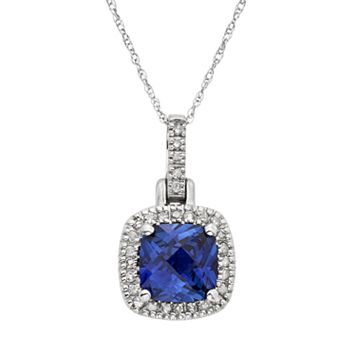 Lab-Created Sapphire & 1/8 Carat T.W. Diamond 10k White Gold Halo Pendant Necklace