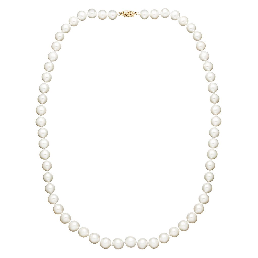 Freshwater by HONORA Freshwater Cultured Pearl Necklace in 10k Gold (6-7 mm)