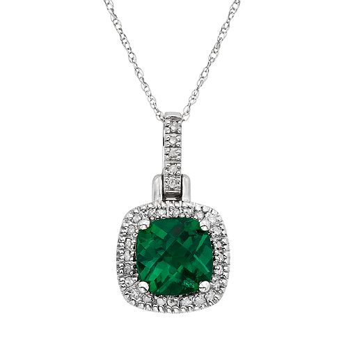Lab-Created Emerald & 1/8 Carat T.W. Diamond 10k White Gold Halo Pendant Necklace