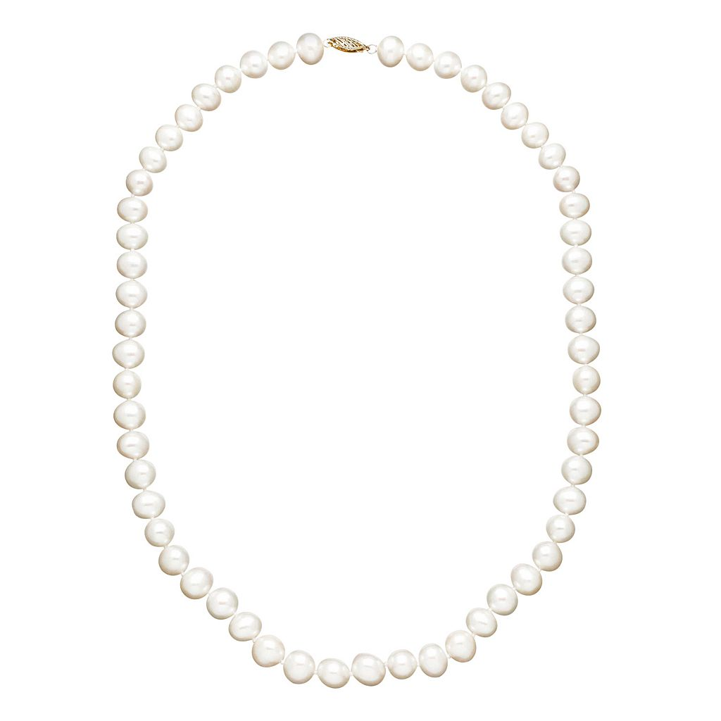 Freshwater by HONORA Freshwater Cultured Pearl Necklace in 10k Gold (7.5-8.5 mm)