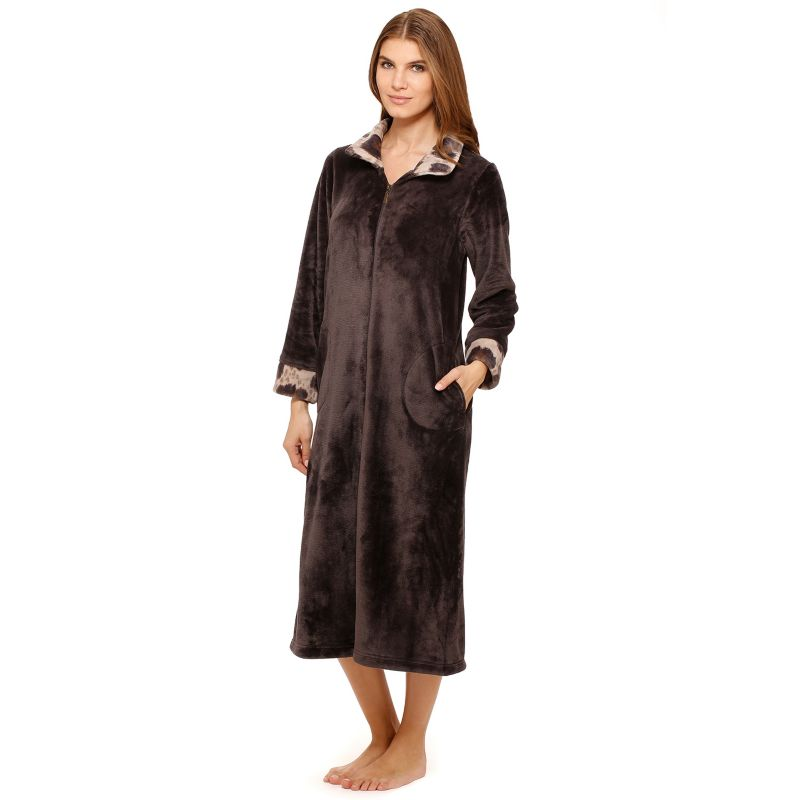 Stan Herman Femme Fatale Zippered Robe - Women's Plus Size
