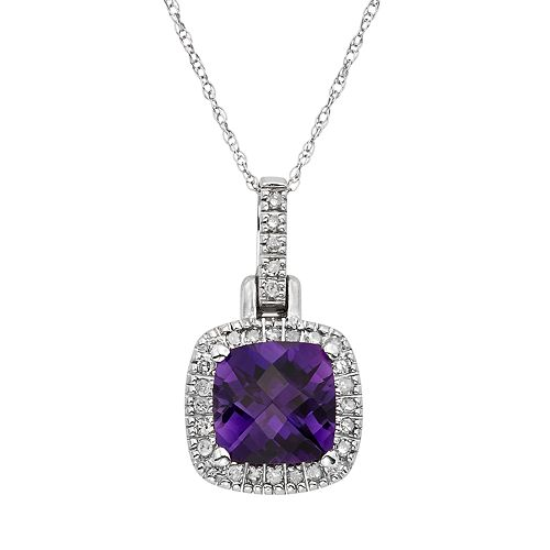 Amethyst & 1/8 Carat T.W. Diamond 10k White Gold Halo Pendant Necklace