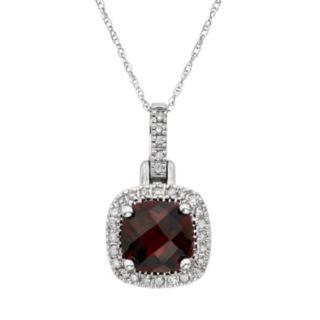 Garnet & 1/8 Carat T.W. Diamond 10k White Gold Halo Pendant Necklace
