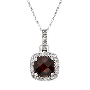 Garnet & 1/8 Carat T.W. Diamond 10k White Gold Halo Pendant Necklace