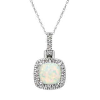 Lab-Created Opal & 1/8 Carat T.W. Diamond 10k White Gold Halo Pendant Necklace