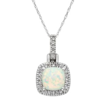 Lab-Created Opal & 1/8 Carat T.W. Diamond 10k White Gold Halo Pendant Necklace