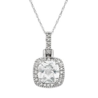 Lab-Created White Sapphire & 1/8 Carat T.W. Diamond 10k White Gold Halo Pendant Necklace