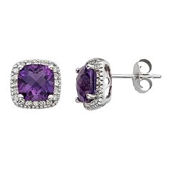 Amethyst & 1/6 Carat T.W. Diamond 10k White Gold Halo Button Stud Earrings