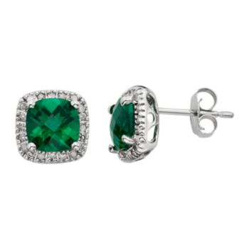 Lab-Created Emerald & 1/6 Carat T.W. Diamond 10k White Gold Halo Button Stud Earrings