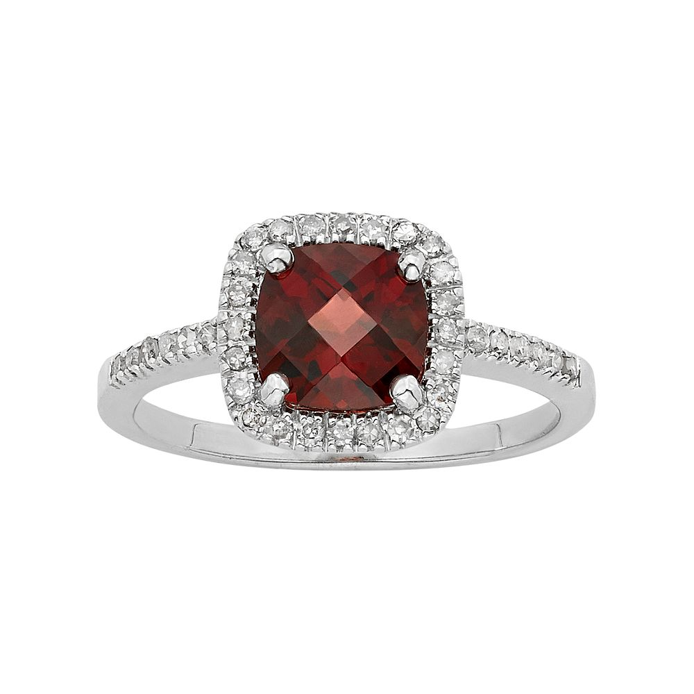 Garnet & 1/5 Carat T.W. Diamond 10k White Gold Halo Ring