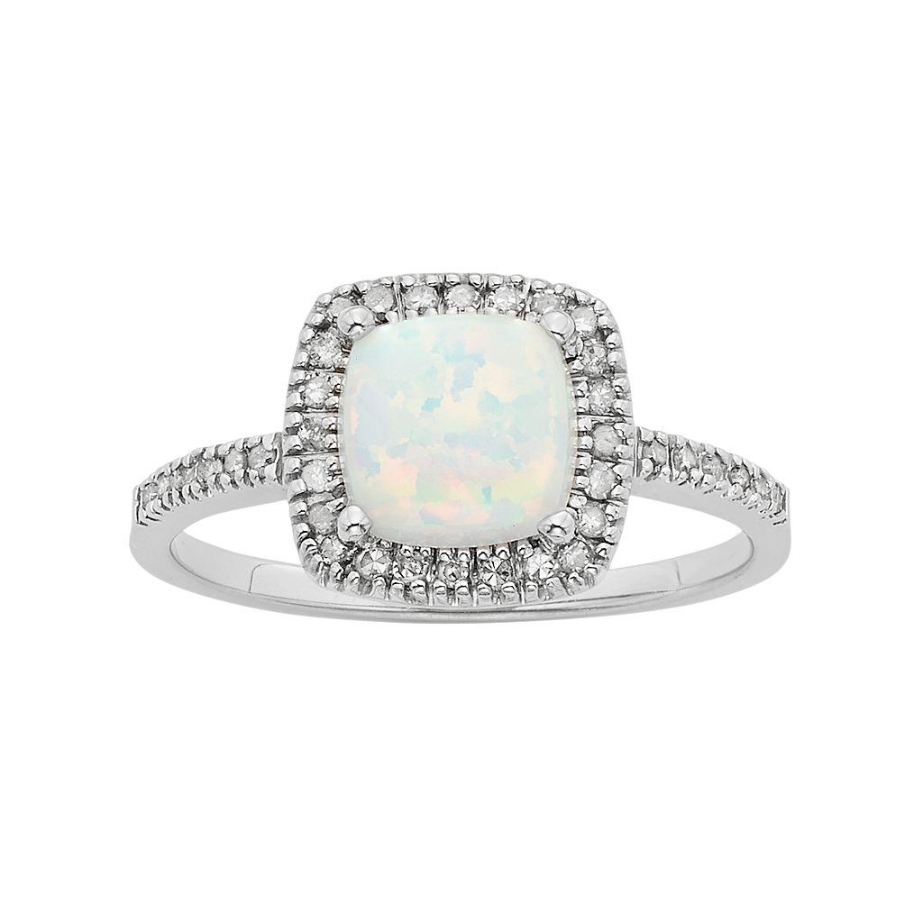 Lab-Created Opal & 1/5 Carat T.W. Diamond 10k White Gold Halo Ring