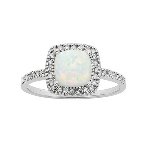 Lab-Created Opal & 1/5 Carat T.W. Diamond 10k White Gold Halo Ring