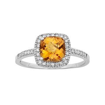 10k White Gold Citrine & 1/5 Carat T.W. Diamond Halo Ring