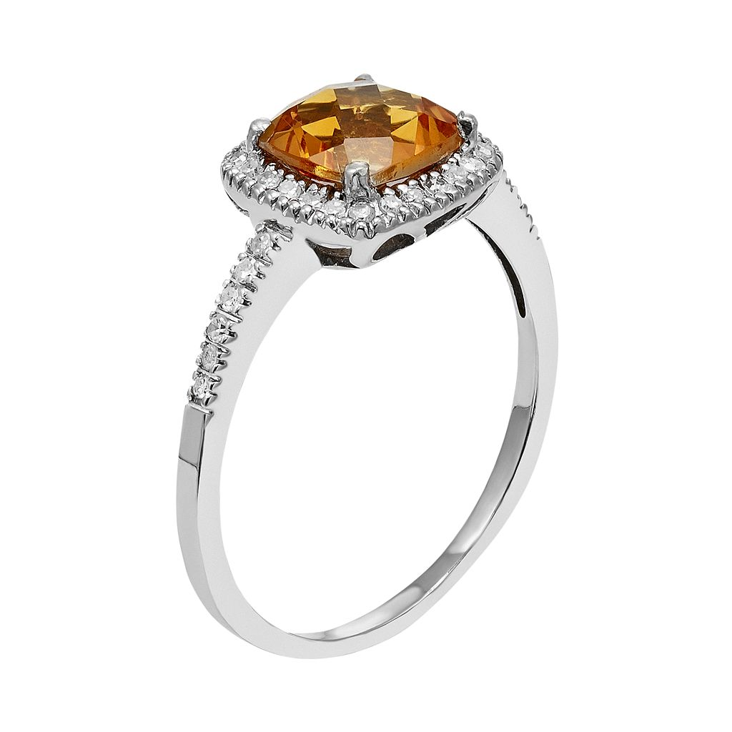 10k White Gold Citrine & 1/5 Carat T.W. Diamond Halo Ring