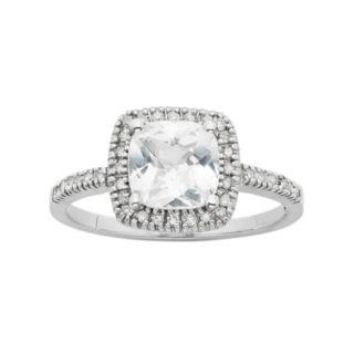 Lab-Created White Sapphire & 1/5 Carat T.W. Diamond 10k White Gold Halo Ring