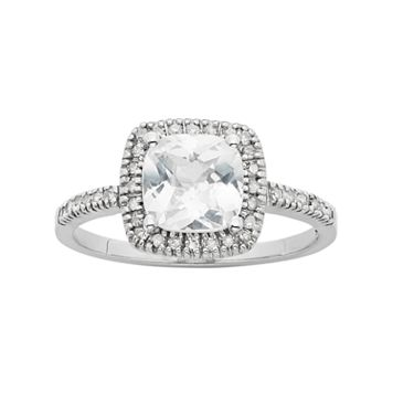 Lab-Created White Sapphire & 1/5 Carat T.W. Diamond 10k White Gold Halo Ring