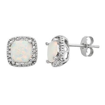 Lab-Created Opal & 1/6 Carat T.W. Diamond 10k White Gold Halo Button Stud Earrings