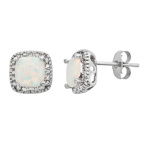 Lab-Created Opal & 1/6 Carat T.W. Diamond 10k White Gold Halo Button Stud Earrings