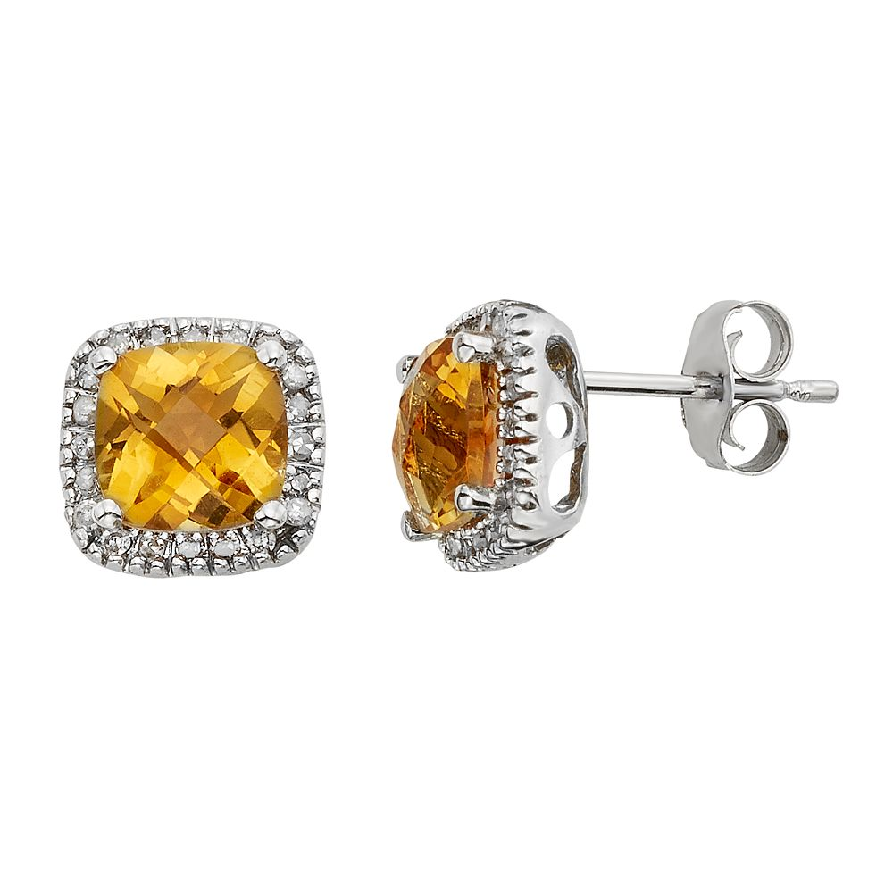 Citrine & 1/6 Carat T.W. Diamond 10k White Gold Halo Button Stud Earrings