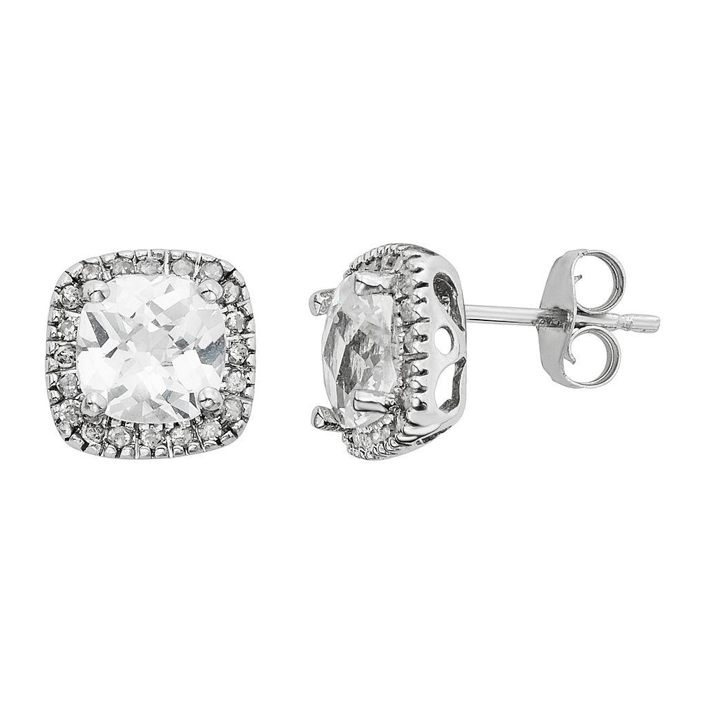 Lab-Created White Sapphire & 1/6 Carat T.W. Diamond 10k White Gold Halo Button Stud Earrings