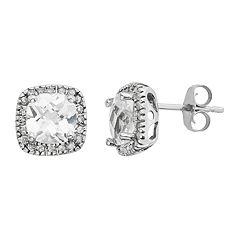 Lab-Created White Sapphire & 1/6 Carat T.W. Diamond 10k White Gold Halo Button Stud Earrings