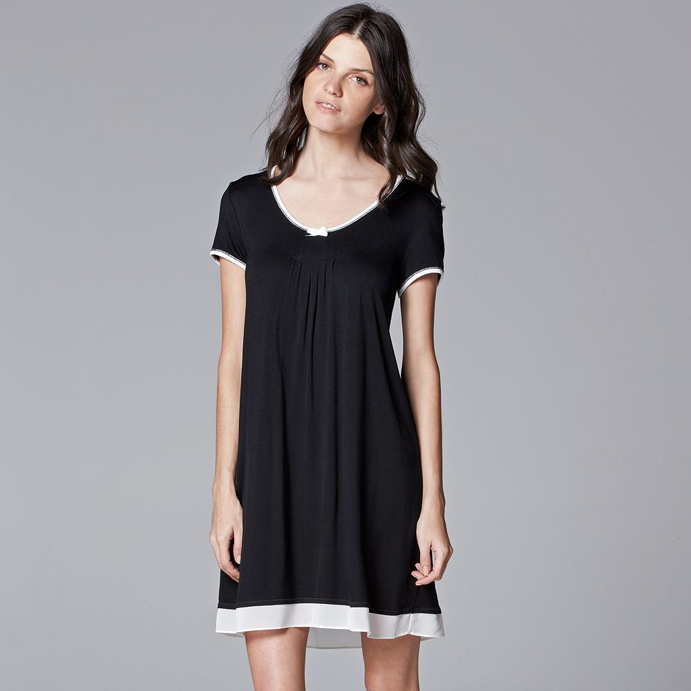 Women's Simply Vera Vera Wang Pajamas: Basic Luxury Sleep Shirt