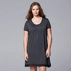 Plus Size Simply Vera Vera Wang Pajamas: Basic Luxury Sleep Shirt