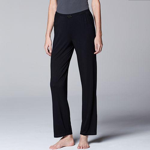 Women's Simply Vera Vera Wang Pajamas: Basic Solid Luxury Pajama Pants