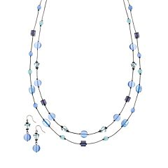 Bead Long Multistrand Necklace & Drop Earring Set