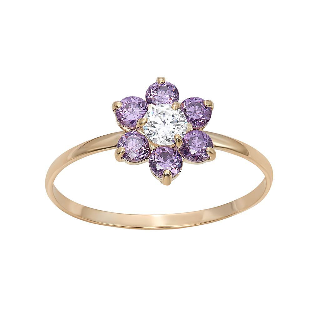 Junior Jewels Cubic Zirconia 14k Gold Flower Ring - Kids