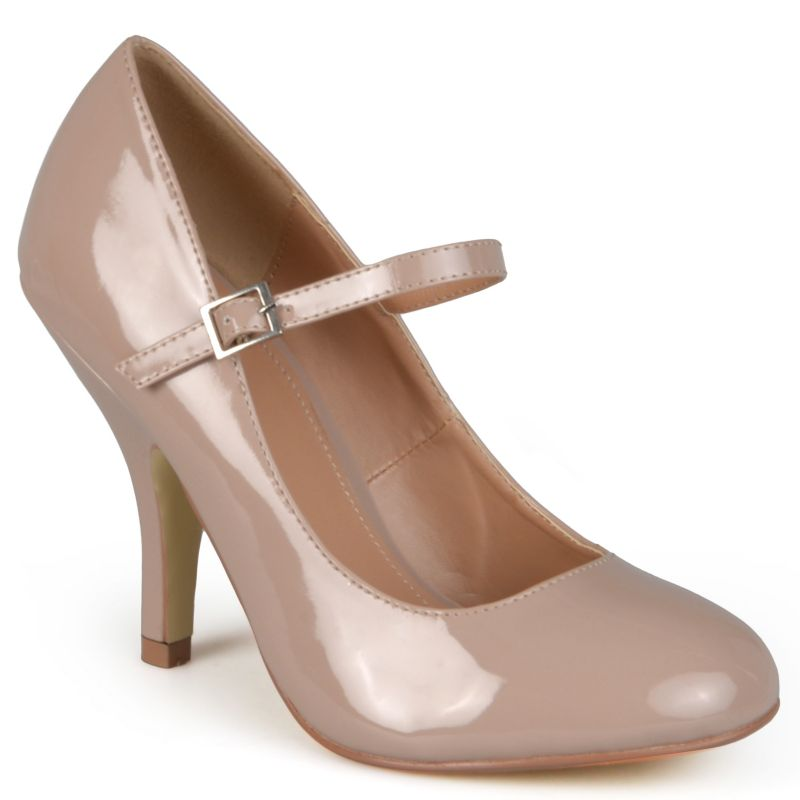 Journee Collection Beige/Khaki Leslie Women's Wide-Width Mary Jane Dress Heels
