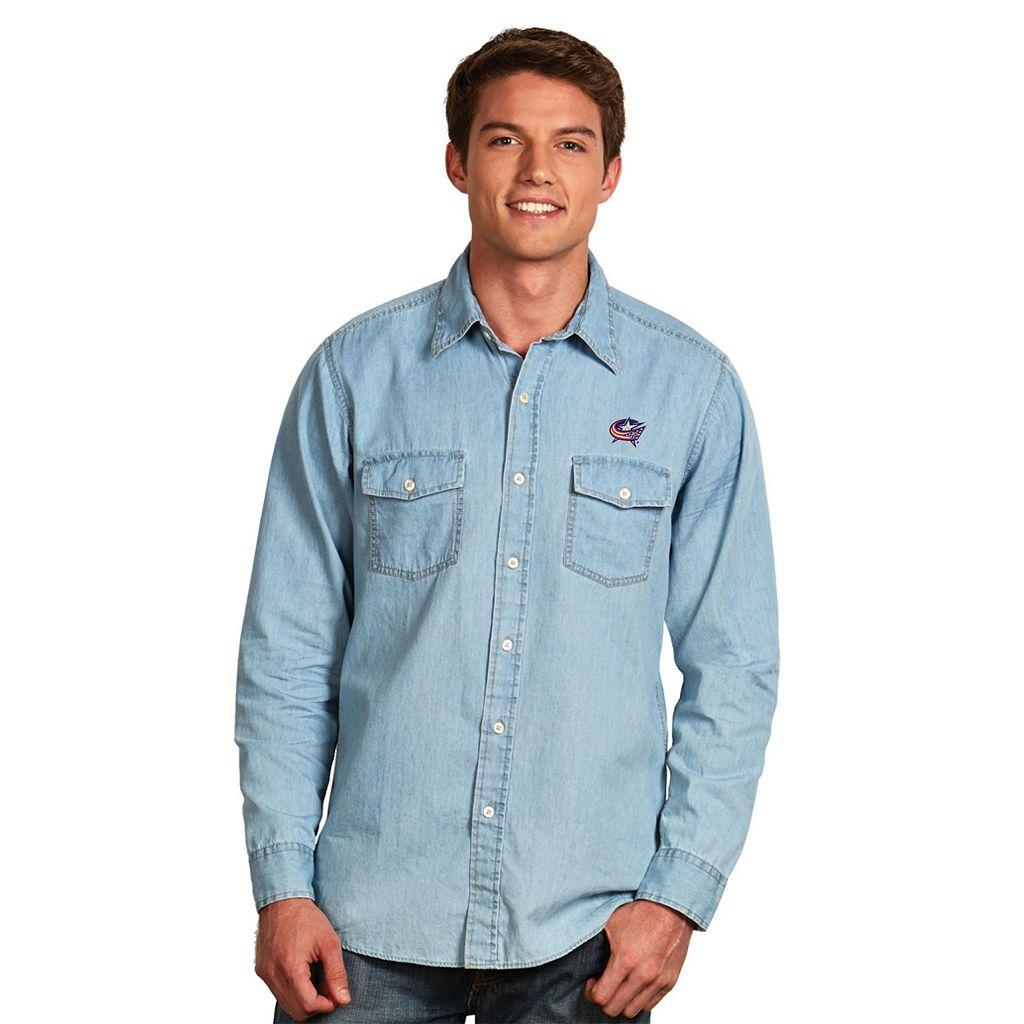 Men's Antigua Columbus Blue Jackets Chambray Button-Down Shirt