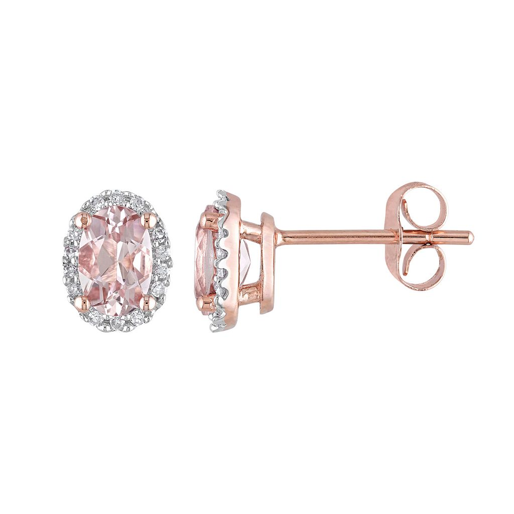 Morganite & 1/10 Carat T.W. Diamond 10k Rose Gold Oval Halo Stud Earrings