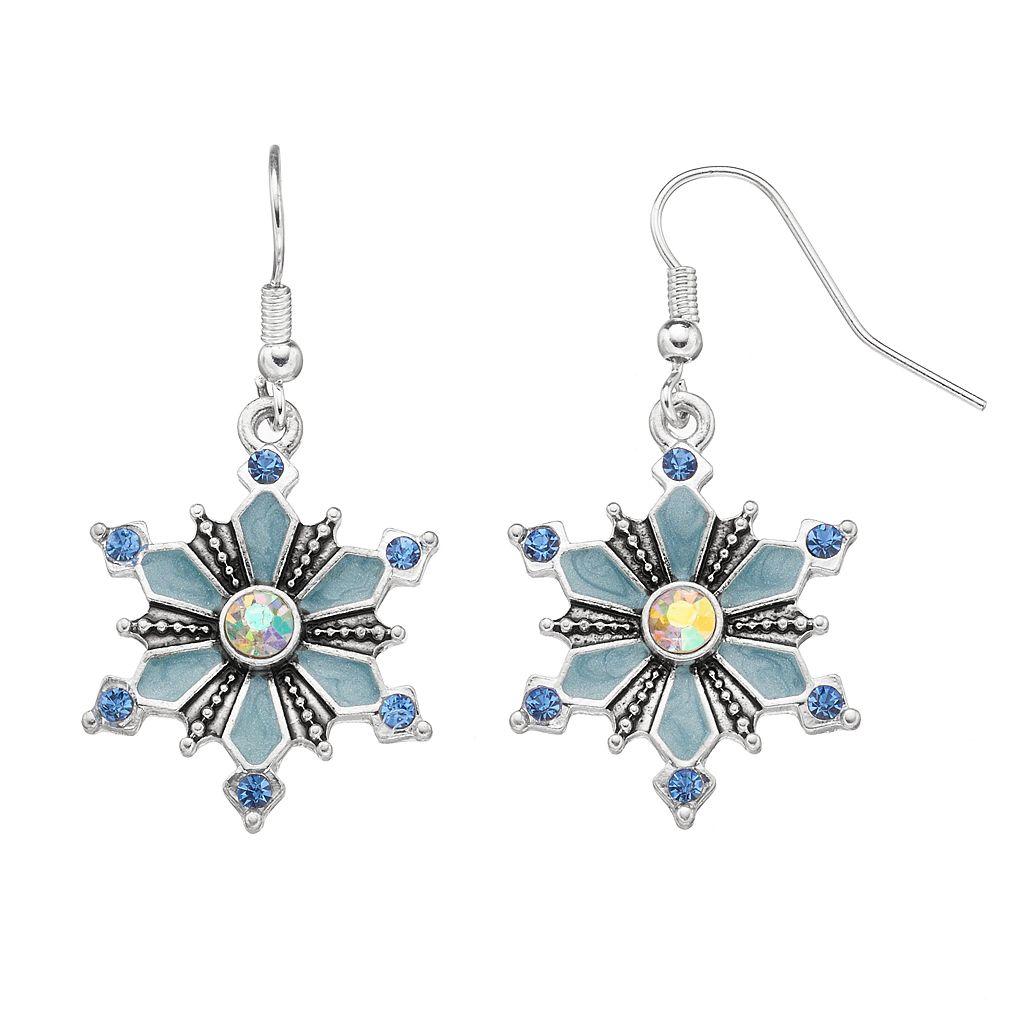 Blue Snowflake Drop Earrings